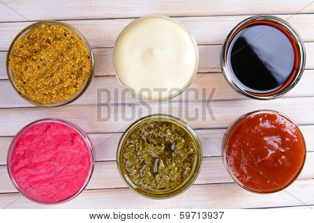 Various sauces on table close-up