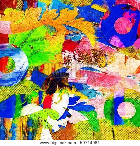 abstract floral background, colorful graffiti collage