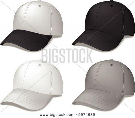 Black Baseball Caps - realistic vector illustrations