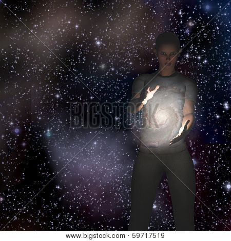Woman holds galaxy between her hands