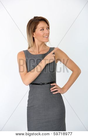 Beautiful businesswoman presenting message