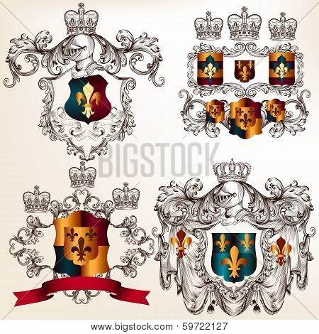 Set Of Vector Heraldic Design Elements With  Coat Of Arms In Vintage Style
