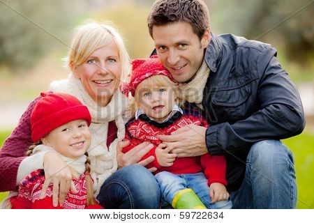 happy smiling family parents and children