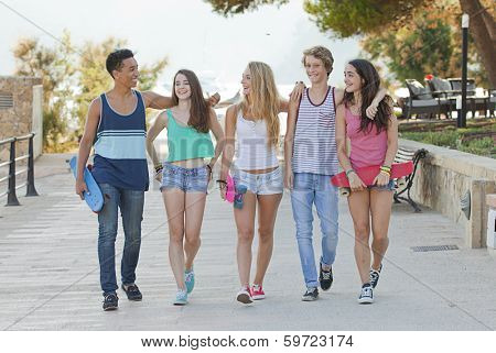 happy group of teens in Majorca or Mallorca