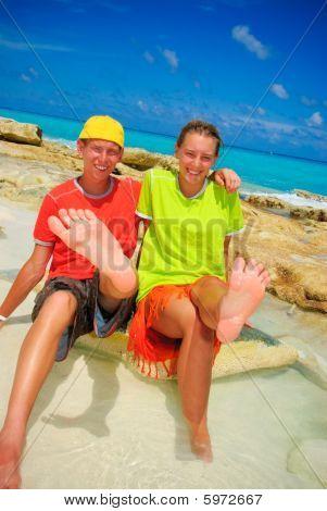 Teens showing feet