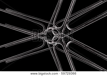 Paperclips attached to represent working together and teamwork on black background