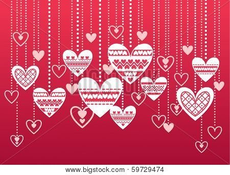 Vector pattern hearts. Valentines day background
