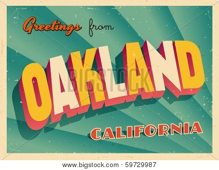 Vintage Touristic Greeting Card - Oakland, California - Vector EPS10. Grunge effects can be easily removed for a brand new, clean sign.