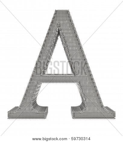 Chain Link Steel Alphabet - A