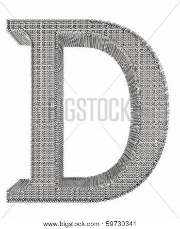 Chain Link Steel Alphabet - D