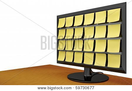 Note Covered Monitor On Desk