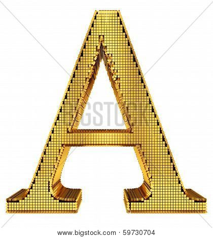 Rich Golden Cube Alphabet - A