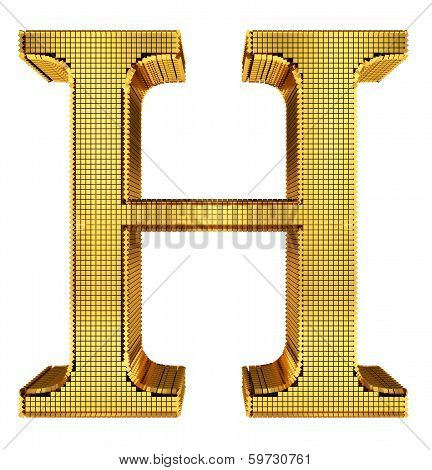 Rich Golden Cube Alphabet - H