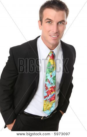 Handsome Business Man With Travel Tie