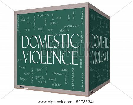 Domestic Violence Word Cloud Concept On A 3D Cube Blackboard