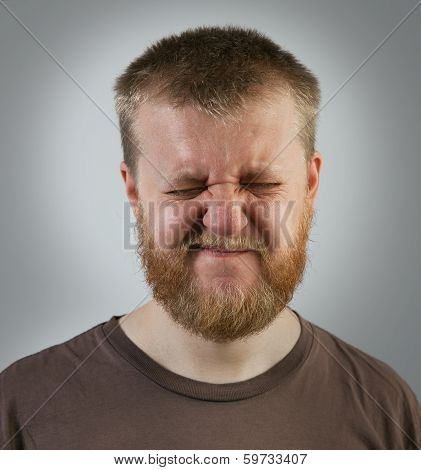 Young Red-bearded Man With Eyes Closed
