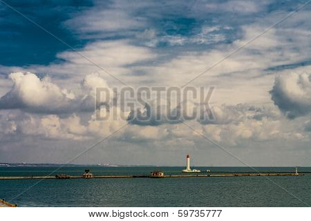 Lighthouse On The Quarantine Pier At The Odessa Sea Port On The Black Sea
