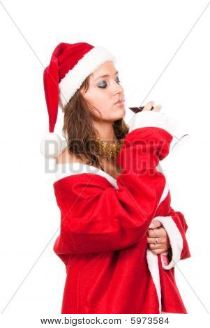 Young Sexy Santa Girl With Glass Of Wine
