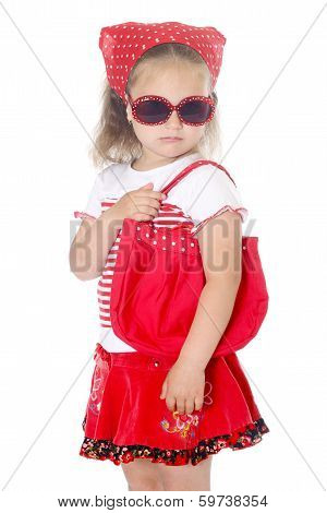 stylish young girl in red clothes