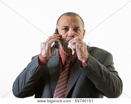 Businessman Calling In Sick