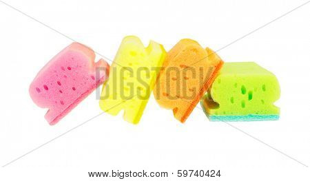 Row of Colorful Sponge Scourers On White Background