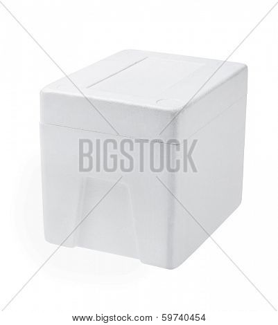 Closed Styrofoam Box On White Background