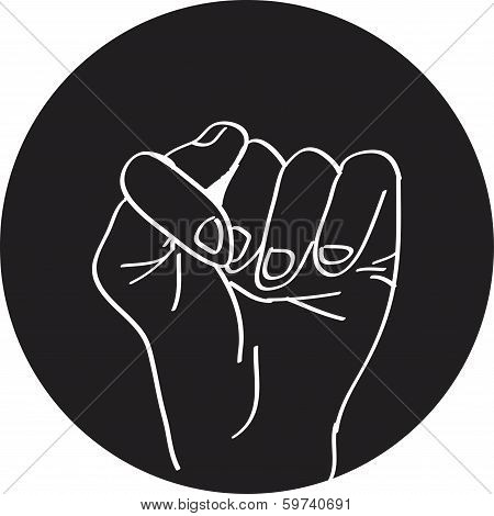 Fig fico hand sign, detailed black and white lines vector illustration