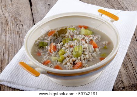 Vegetarian Pearl Barley Soup In A Terrine