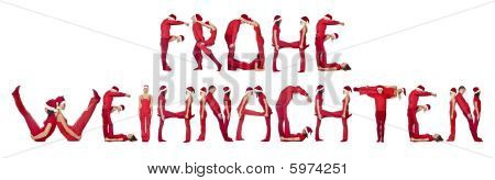 Group Of Elfs Forming The Phrase 'frohe Weinachten'