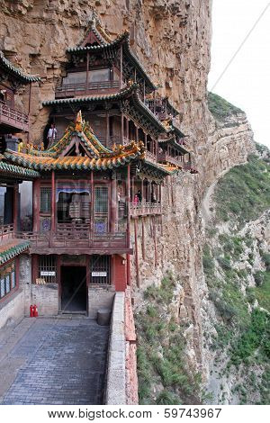 Famous Hanging Monastery In Shanxi Province Near Datong, China, Viewed From Side