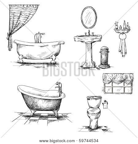 Bathroom interior elements. hand drawn.