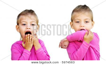 Child Coughing Into Inside of Elbow