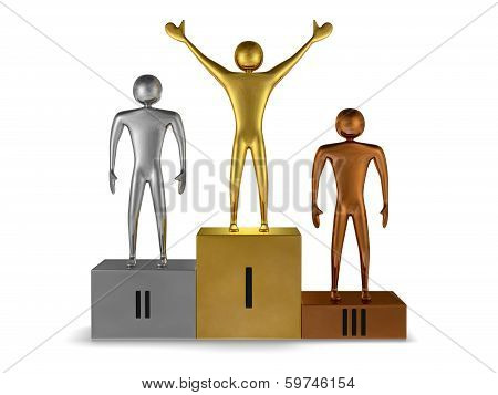 Golden Winner, Silver And Bronze Prizetakers On Podium. Front View
