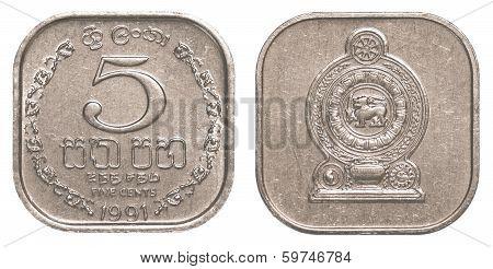 5 Sri Lankan Rupee Cents Coin