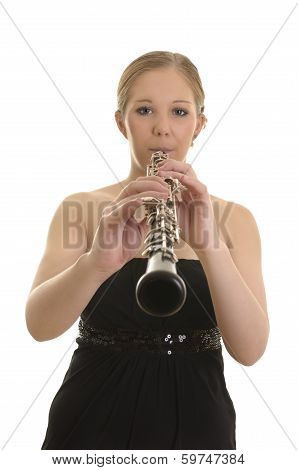 Pretty Young Woman Playing Oboe