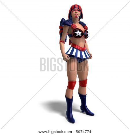 Female Comic Hero In An Red, Blue, White Outfit
