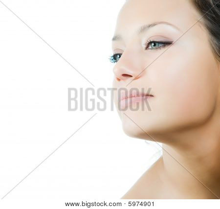 Closeup Portrait Of Beautidful Nacked Young Woman