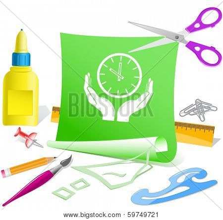 clock in hands. Paper template. Raster illustration.