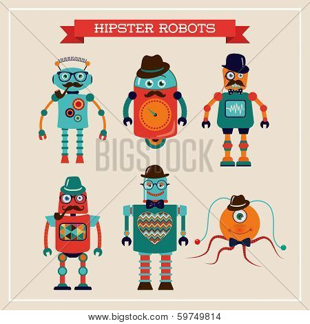 Set of cute retro hipster robots.