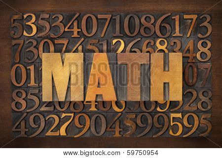 math (mathematics) word in vintage letterpress wood type against number background