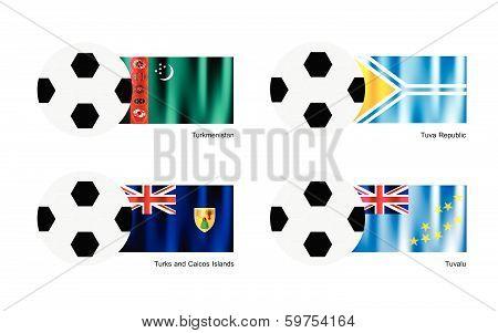 Football With Turkmenistan, Tuva, Turks And Caicos Islands And Tuvalu