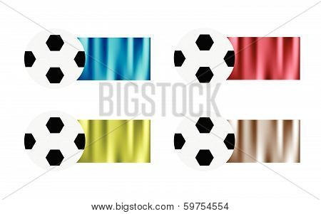 Four Soccer Balls With Blue, Red, Green And Siver Flag