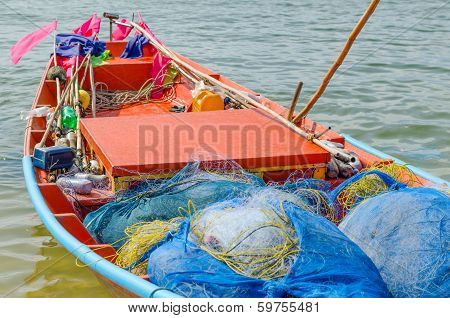 Fishnet On  Small Fishing Boat