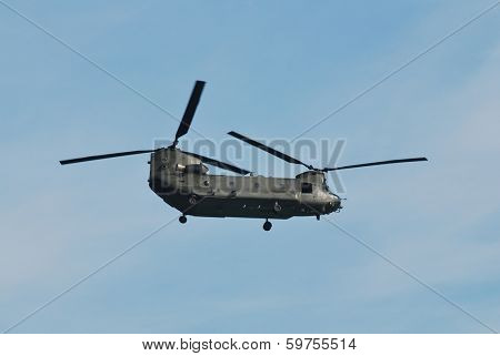 EASTBOURNE, ENGLAND - AUGUST 11, 2012: A Boeing Chinook HC2 helicopter of the Royal Air Force performs at the Airbourne airshow. Outside of the US army the RAF operate the largest fleet of Chinooks.