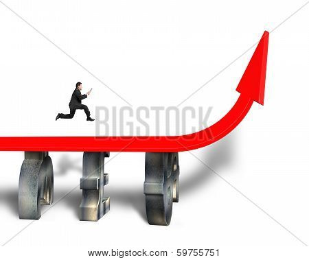Businessman Running On Red Arrow Bridge
