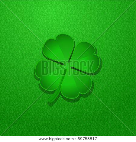 Shamrock On Green Leather