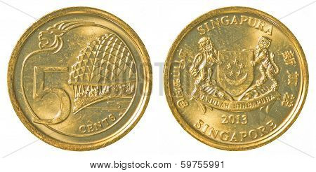 5 Singaporean Cents Coin