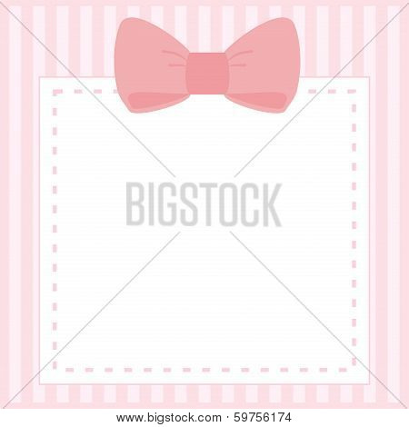 Vector card or invitation for baby shower, wedding or birthday party with stripes and sweet bow
