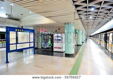 SHANGHAI, CHINA - MAY 27: Shanghai subway station interior on May 27, 2012 in Shanghai, China. The Shanghai Metro system has 11 lines, 278 stations and is the longest and 5th busiest in the world.