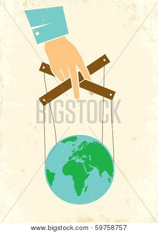 Hand Controls The Globe